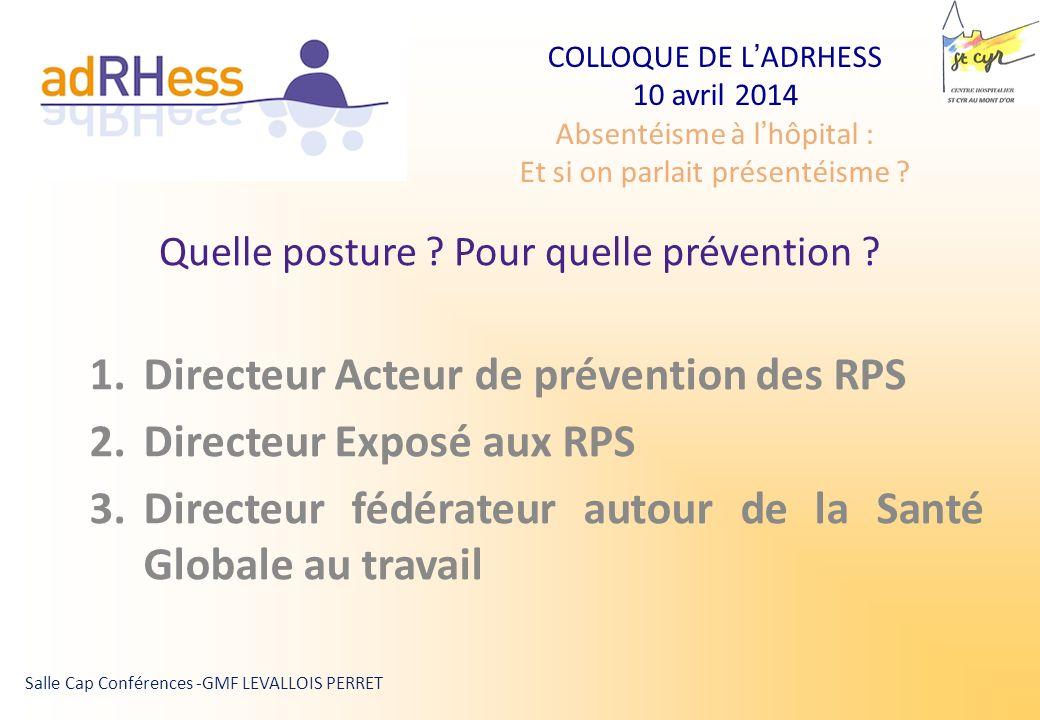 COLLOQUE DE LADRHESS 10 avril 2014 Absentéisme à lhôpital : Et si on parlait présentéisme ?