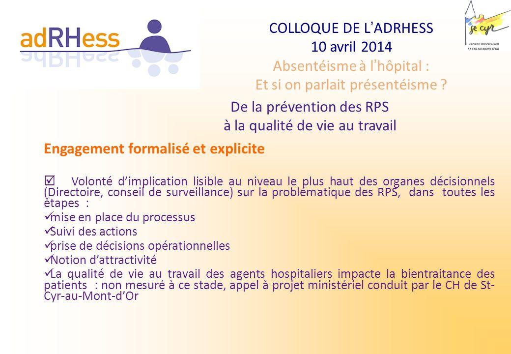 COLLOQUE DE LADRHESS 10 avril 2014 Absentéisme à lhôpital : Et si on parlait présentéisme ? De la prévention des RPS à la qualité de vie au travail En