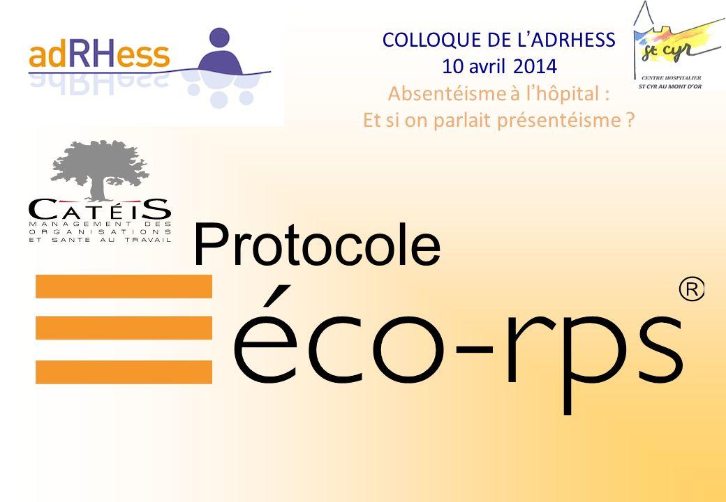 COLLOQUE DE LADRHESS 10 avril 2014 Absentéisme à lhôpital : Et si on parlait présentéisme ? Protocole