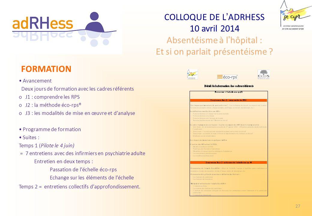 COLLOQUE DE LADRHESS 10 avril 2014 Absentéisme à lhôpital : Et si on parlait présentéisme ? Avancement Deux jours de formation avec les cadres référen