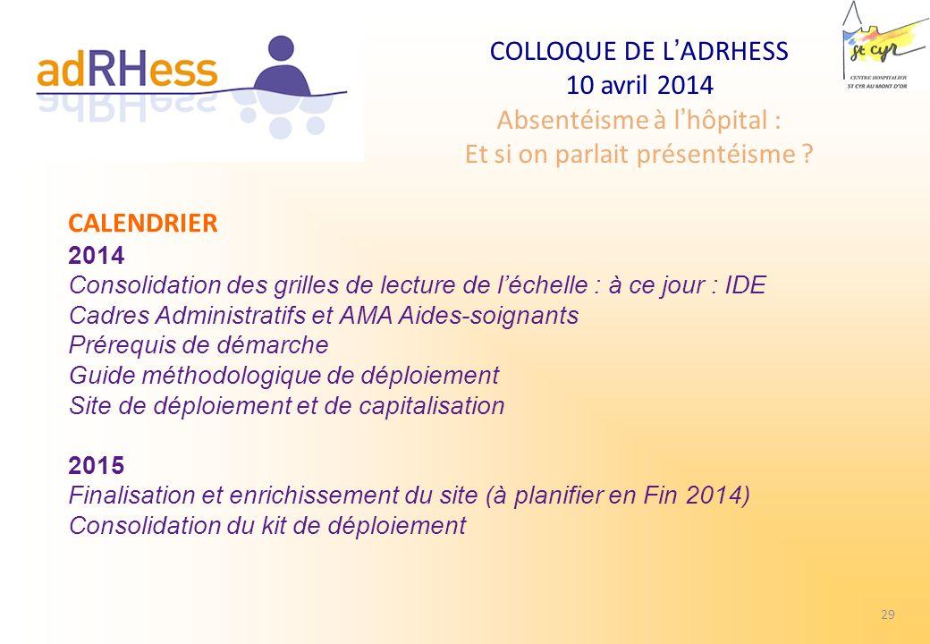 COLLOQUE DE LADRHESS 10 avril 2014 Absentéisme à lhôpital : Et si on parlait présentéisme ? CALENDRIER 2014 Consolidation des grilles de lecture de lé