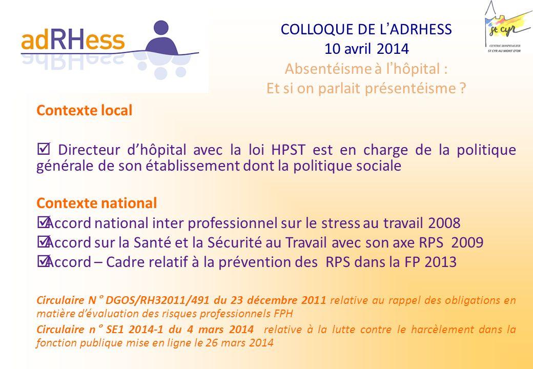 COLLOQUE DE LADRHESS 10 avril 2014 Absentéisme à lhôpital : Et si on parlait présentéisme ? Contexte local Directeur dhôpital avec la loi HPST est en