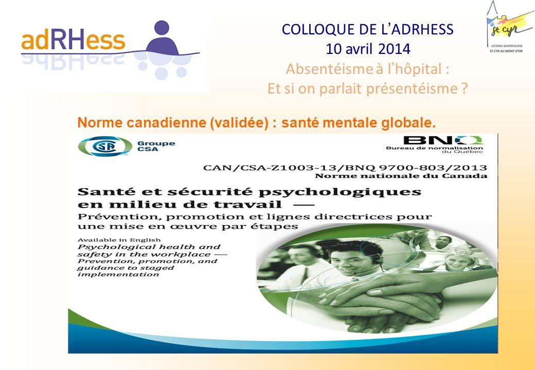 COLLOQUE DE LADRHESS 10 avril 2014 Absentéisme à lhôpital : Et si on parlait présentéisme ? Norme canadienne (validée) : santé mentale globale.