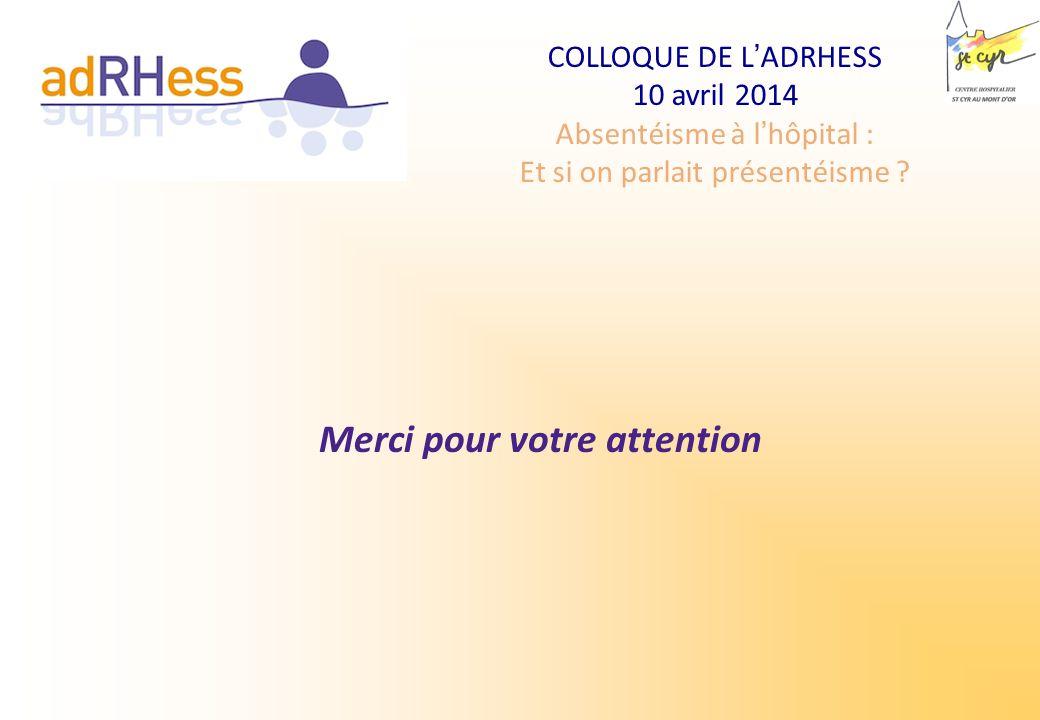 COLLOQUE DE LADRHESS 10 avril 2014 Absentéisme à lhôpital : Et si on parlait présentéisme ? Merci pour votre attention
