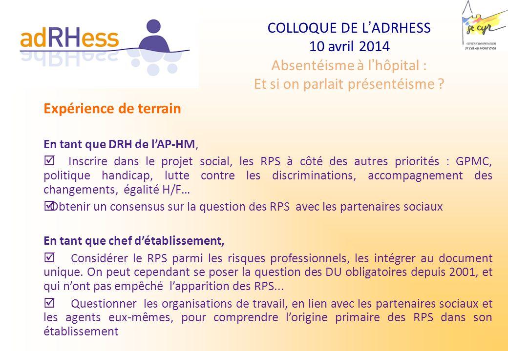 COLLOQUE DE LADRHESS 10 avril 2014 Absentéisme à lhôpital : Et si on parlait présentéisme ? Expérience de terrain En tant que DRH de lAP-HM, Inscrire