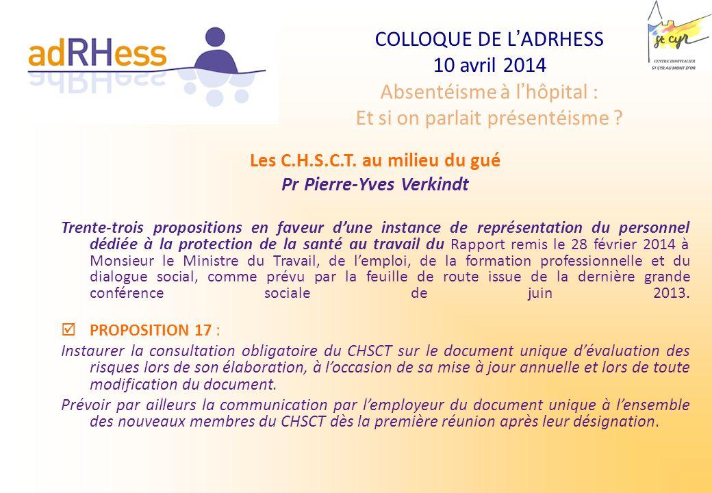 COLLOQUE DE LADRHESS 10 avril 2014 Absentéisme à lhôpital : Et si on parlait présentéisme ? Les C.H.S.C.T. au milieu du gué Pr Pierre-Yves Verkindt T
