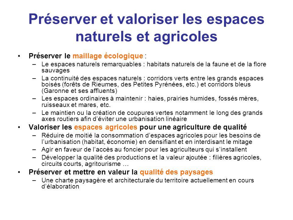 Préserver et valoriser les espaces naturels et agricoles Préserver le maillage écologique : –Le espaces naturels remarquables : habitats naturels de l