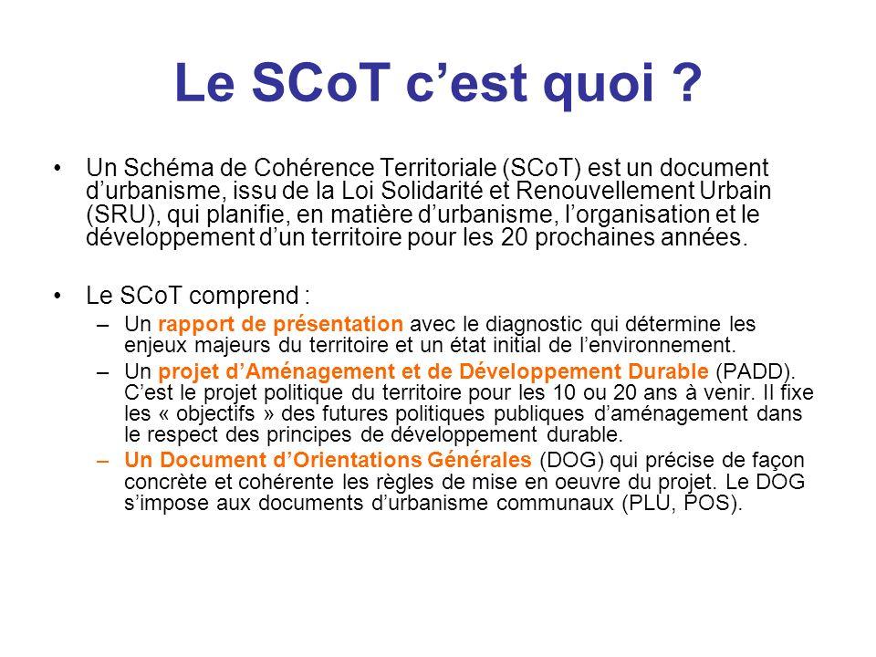 Le SCoT cest quoi ? Un Schéma de Cohérence Territoriale (SCoT) est un document durbanisme, issu de la Loi Solidarité et Renouvellement Urbain (SRU), q