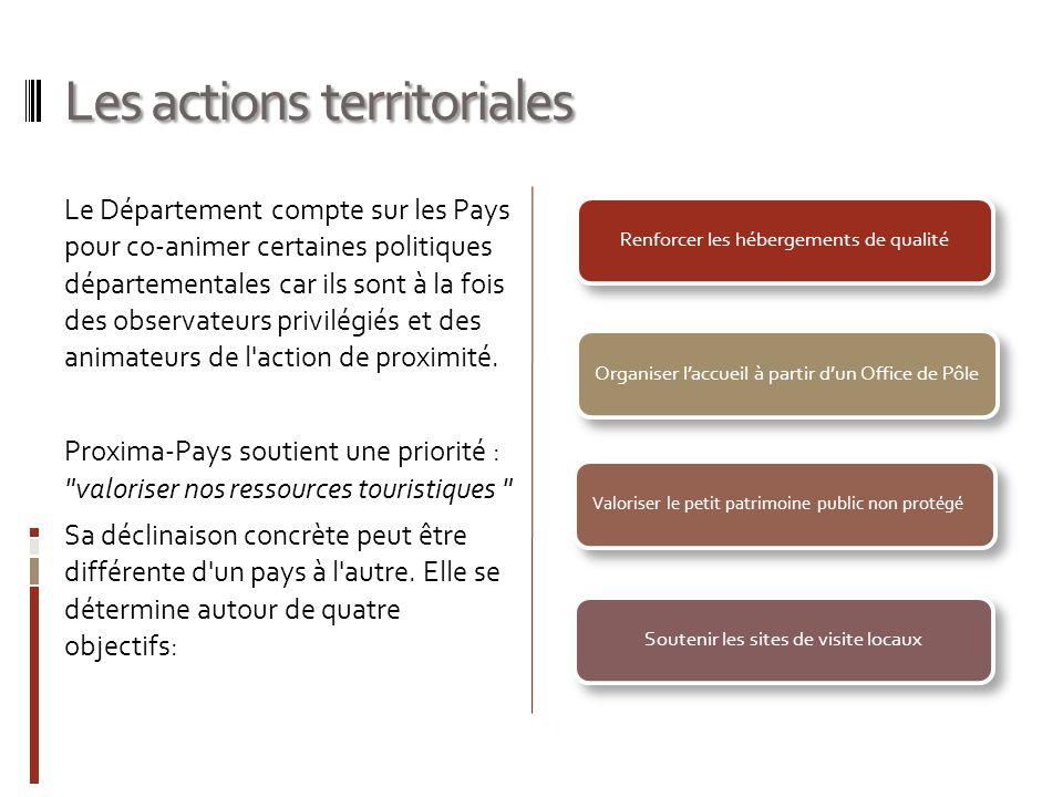 Les actions territoriales Le Département compte sur les Pays pour co-animer certaines politiques départementales car ils sont à la fois des observateurs privilégiés et des animateurs de l action de proximité.