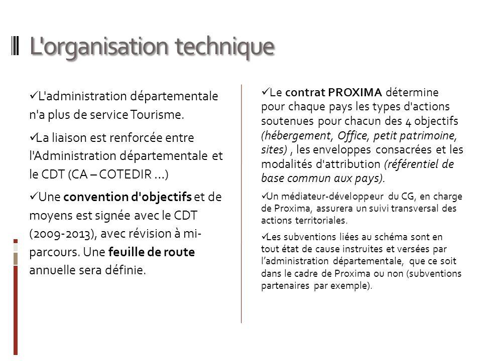 L'organisation technique L'administration départementale n'a plus de service Tourisme. La liaison est renforcée entre l'Administration départementale