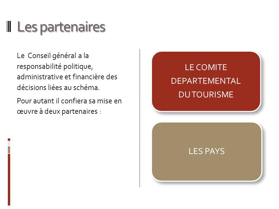 Les partenaires Le Conseil général a la responsabilité politique, administrative et financière des décisions liées au schéma. Pour autant il confiera