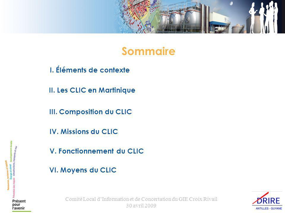 Comité Local dInformation et de Concertation du GIE Croix Rivail 30 avril 2009 I.