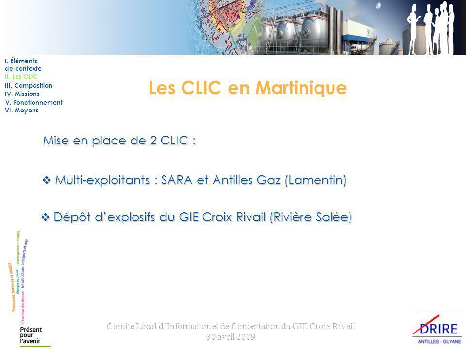 Comité Local dInformation et de Concertation du GIE Croix Rivail 30 avril 2009 Les CLIC en Martinique Mise en place de 2 CLIC : I.