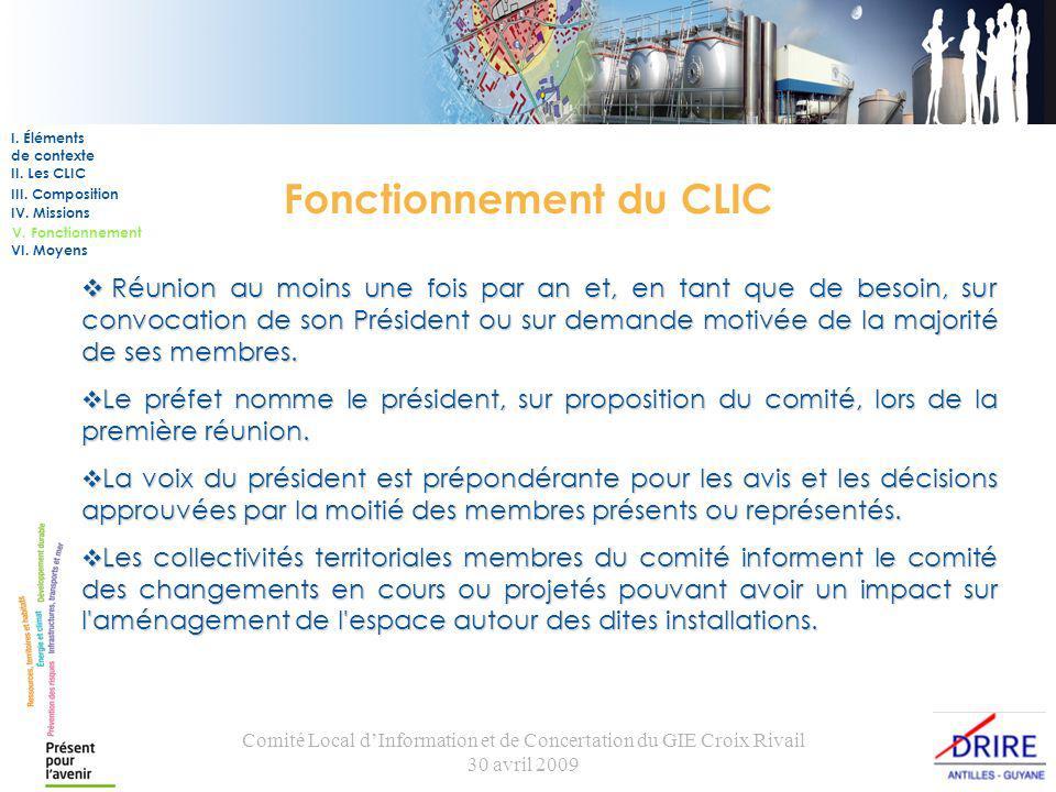 Comité Local dInformation et de Concertation du GIE Croix Rivail 30 avril 2009 Fonctionnement du CLIC Réunion au moins une fois par an et, en tant que de besoin, sur convocation de son Président ou sur demande motivée de la majorité de ses membres.