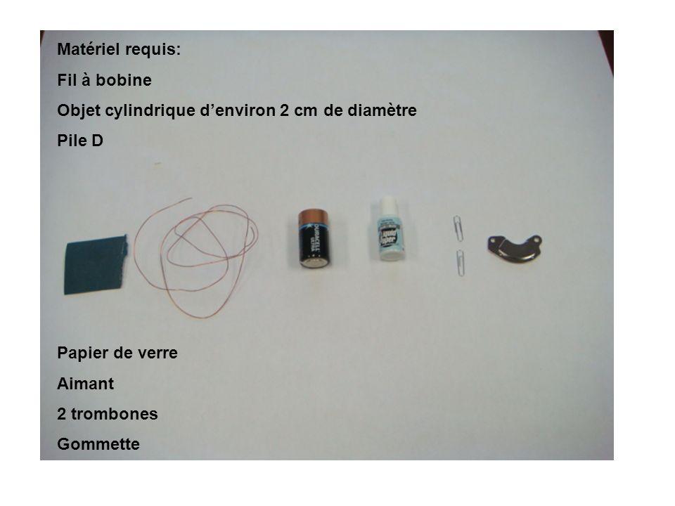 Matériel requis: Fil à bobine Objet cylindrique denviron 2 cm de diamètre Pile D Papier de verre Aimant 2 trombones Gommette