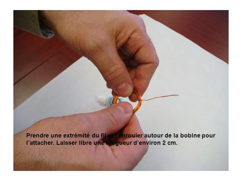 Prendre une extrémité du fil et lenrouler autour de la bobine pour lattacher.