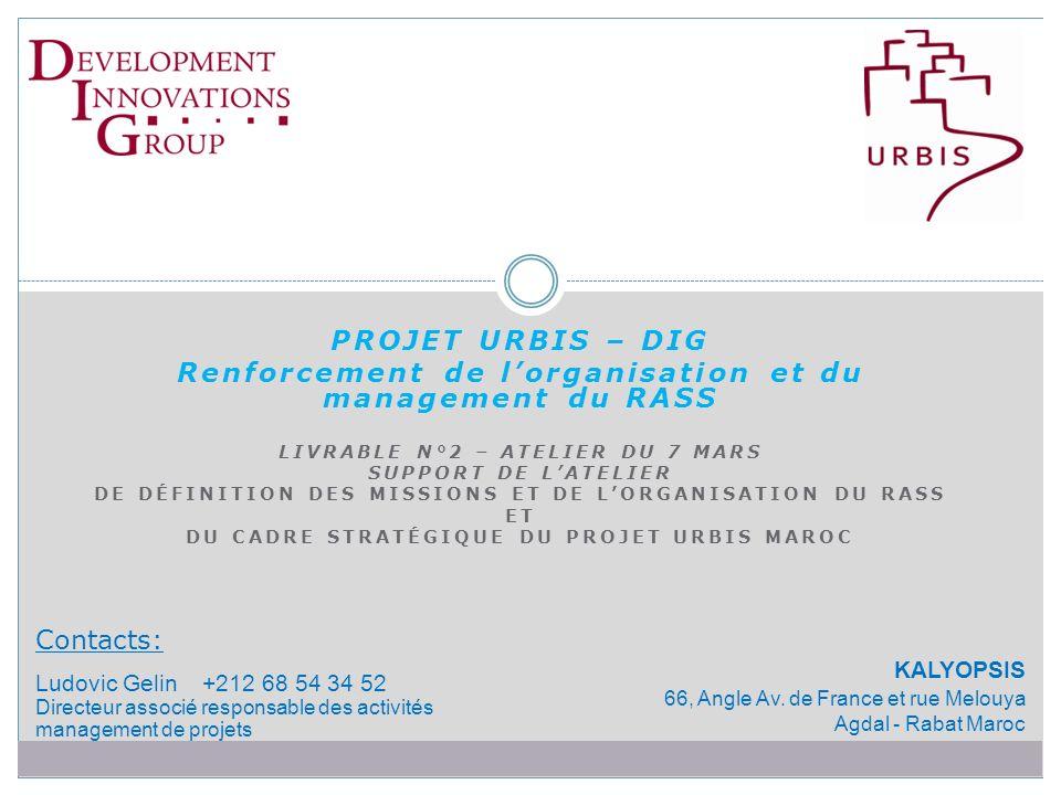 PROJET URBIS – DIG Renforcement de lorganisation et du management du RASS LIVRABLE N°2 – ATELIER DU 7 MARS SUPPORT DE LATELIER DE DÉFINITION DES MISSIONS ET DE LORGANISATION DU RASS ET DU CADRE STRATÉGIQUE DU PROJET URBIS MAROC Contacts: Ludovic Gelin +212 68 54 34 52 Directeur associé responsable des activités management de projets KALYOPSIS 66, Angle Av.