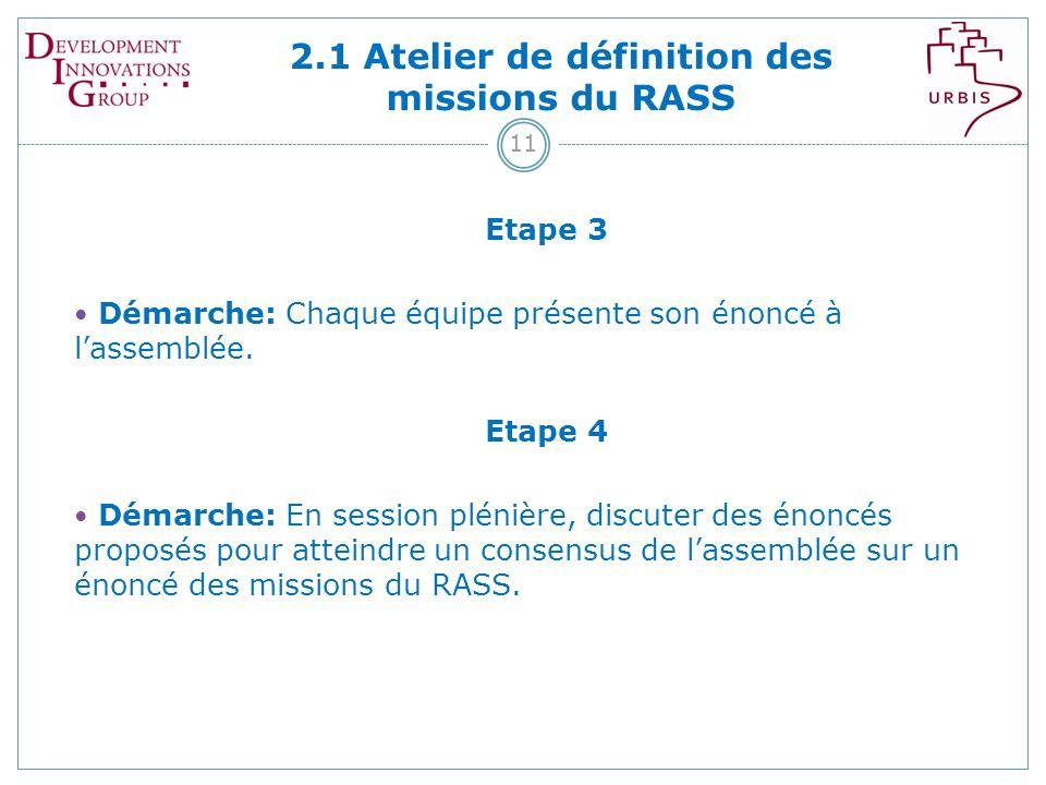 2.1 Atelier de définition des missions du RASS 11 Etape 3 Démarche: Chaque équipe présente son énoncé à lassemblée.