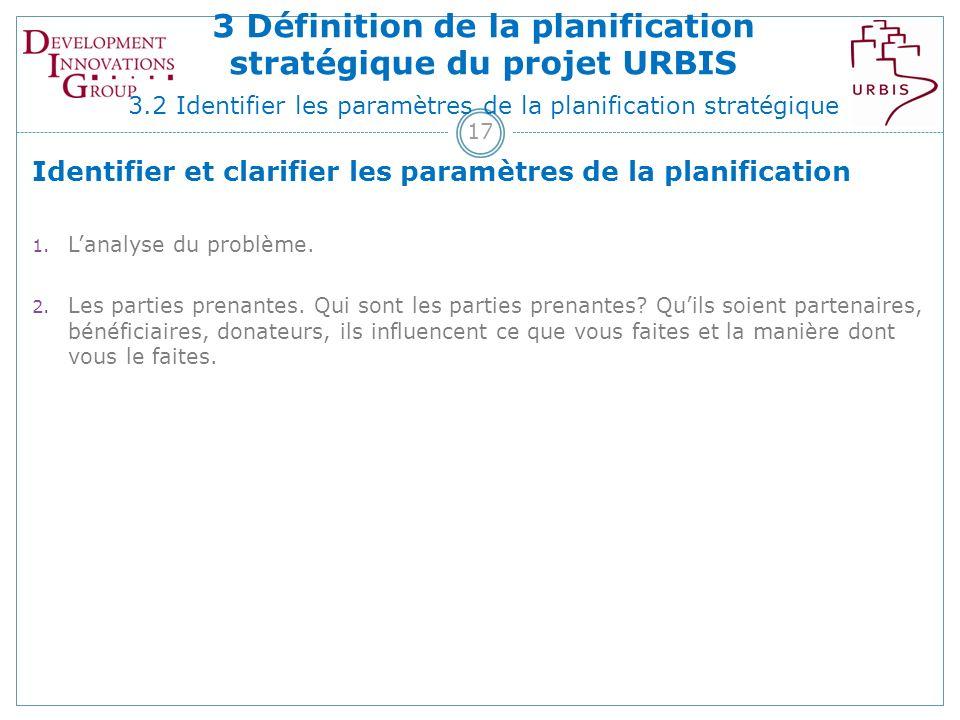 17 Identifier et clarifier les paramètres de la planification 1.