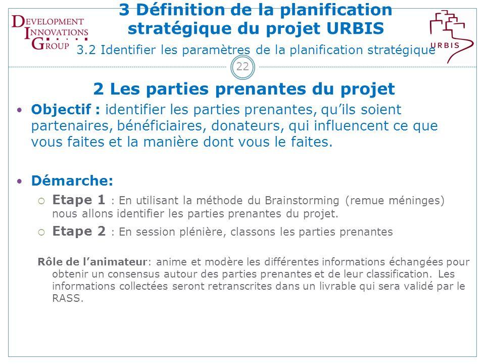 22 2 Les parties prenantes du projet Objectif : identifier les parties prenantes, quils soient partenaires, bénéficiaires, donateurs, qui influencent ce que vous faites et la manière dont vous le faites.