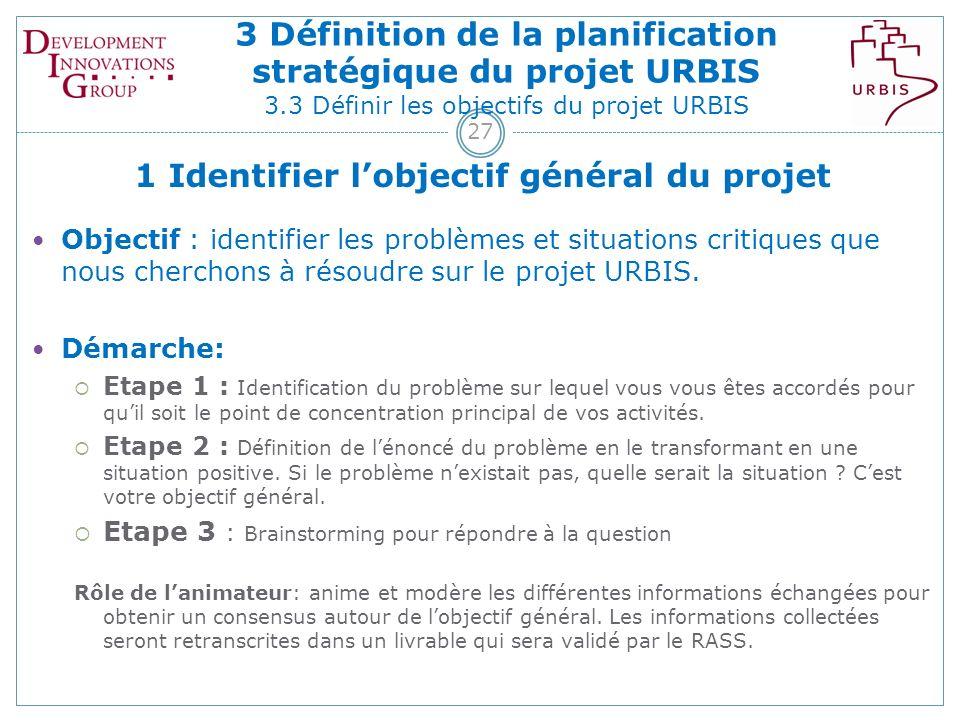 27 1 Identifier lobjectif général du projet Objectif : identifier les problèmes et situations critiques que nous cherchons à résoudre sur le projet URBIS.