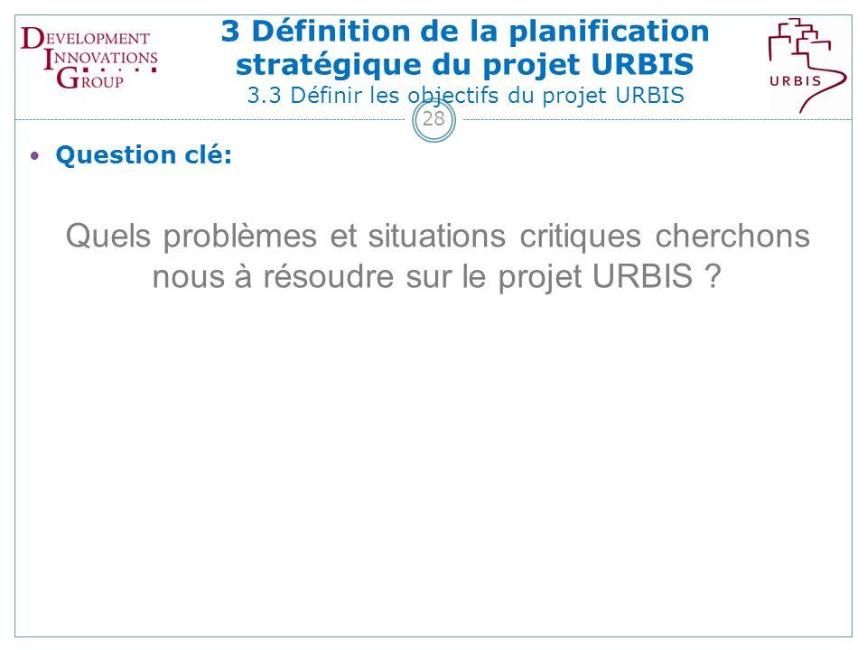28 Question clé: Quels problèmes et situations critiques cherchons nous à résoudre sur le projet URBIS .