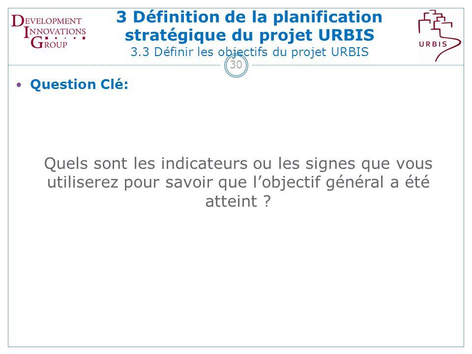 30 Question Clé: Quels sont les indicateurs ou les signes que vous utiliserez pour savoir que lobjectif général a été atteint .