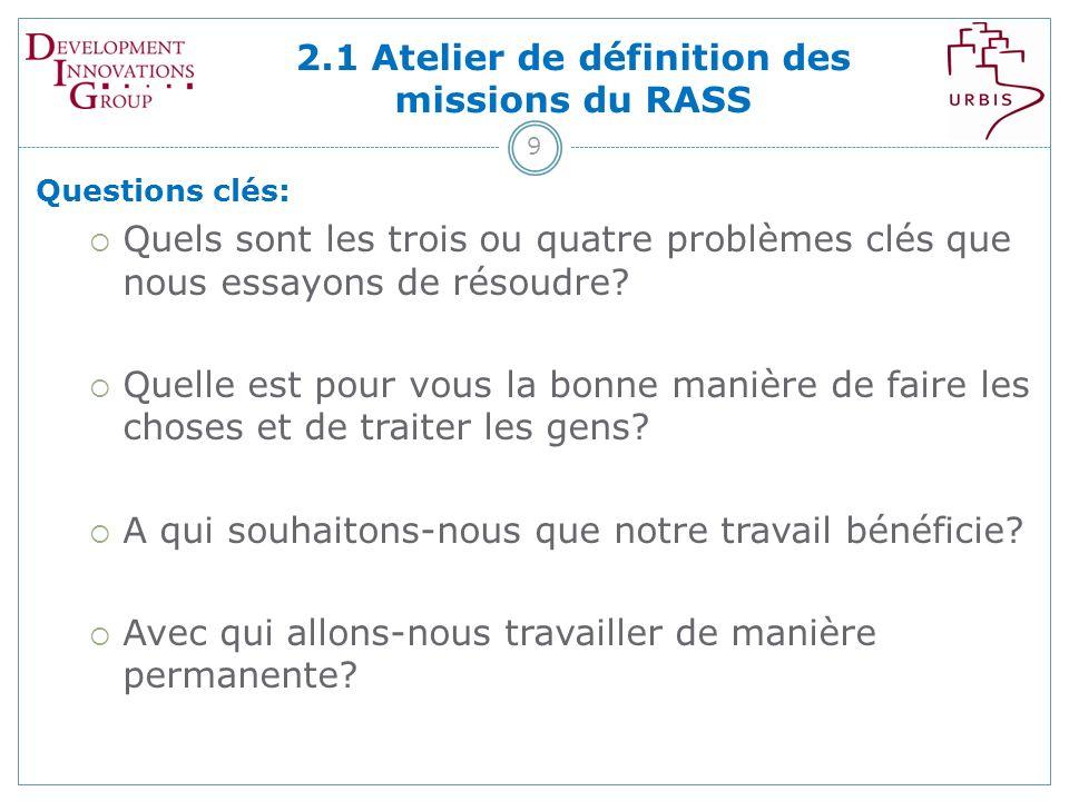 2.1 Atelier de définition des missions du RASS 9 Questions clés: Quels sont les trois ou quatre problèmes clés que nous essayons de résoudre.