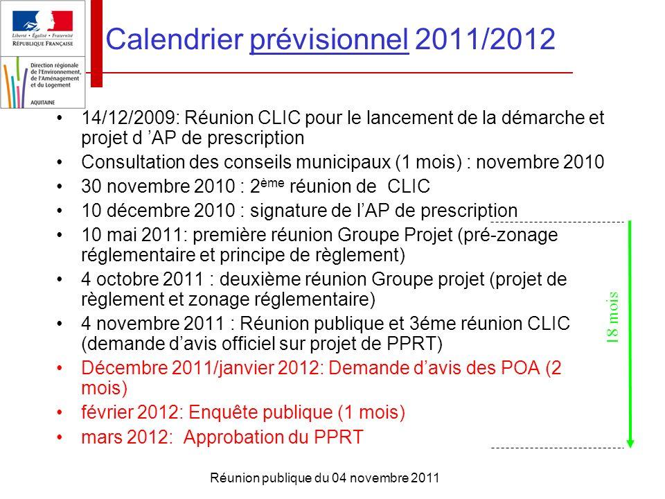 Réunion publique du 04 novembre 2011 14/12/2009: Réunion CLIC pour le lancement de la démarche et projet d AP de prescription Consultation des conseil