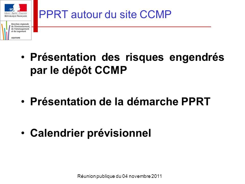 Réunion publique du 04 novembre 2011 PPRT autour du site CCMP Présentation des risques engendrés par le dépôt CCMP Présentation de la démarche PPRT Ca