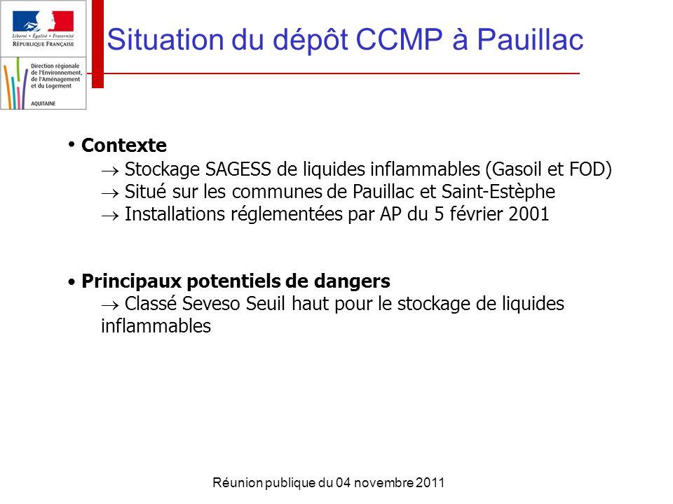 Réunion publique du 04 novembre 2011 Situation du dépôt CCMP à Pauillac Contexte Stockage SAGESS de liquides inflammables (Gasoil et FOD) Situé sur le