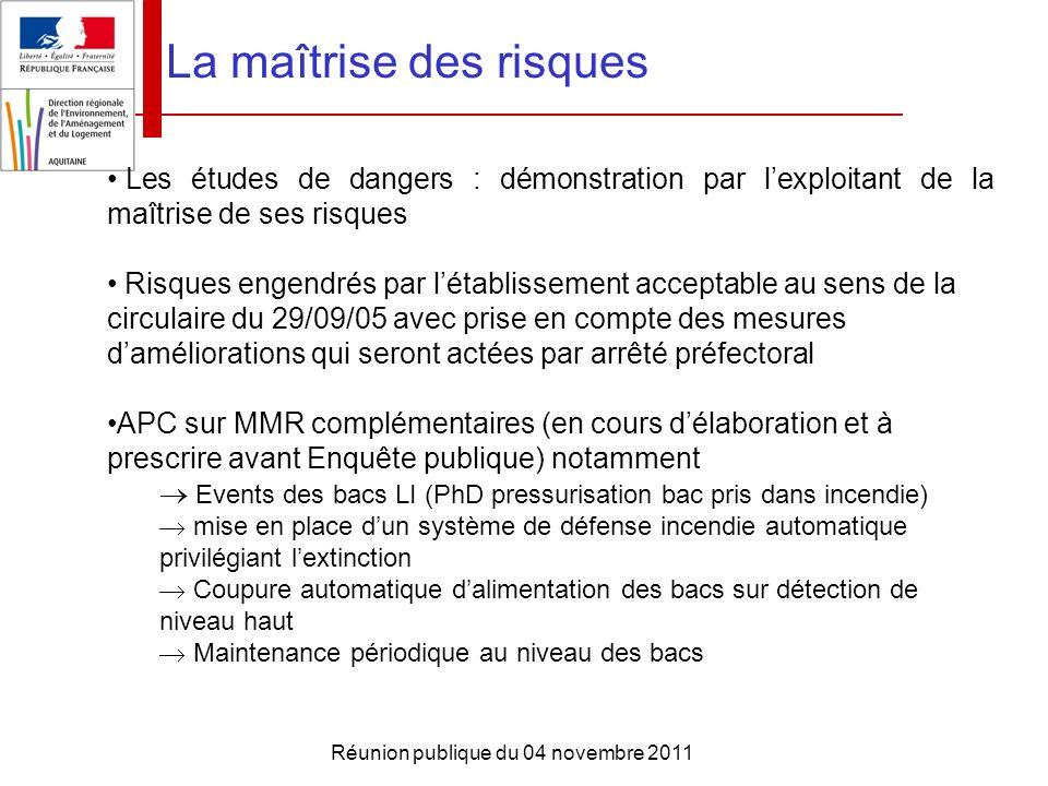Réunion publique du 04 novembre 2011 La maîtrise des risques Les études de dangers : démonstration par lexploitant de la maîtrise de ses risques Risqu