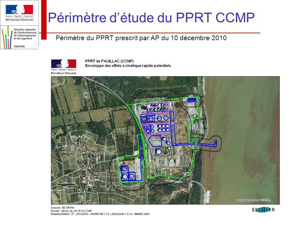 Réunion publique du 04 novembre 2011 Périmètre détude du PPRT CCMP Périmètre du PPRT prescrit par AP du 10 décembre 2010
