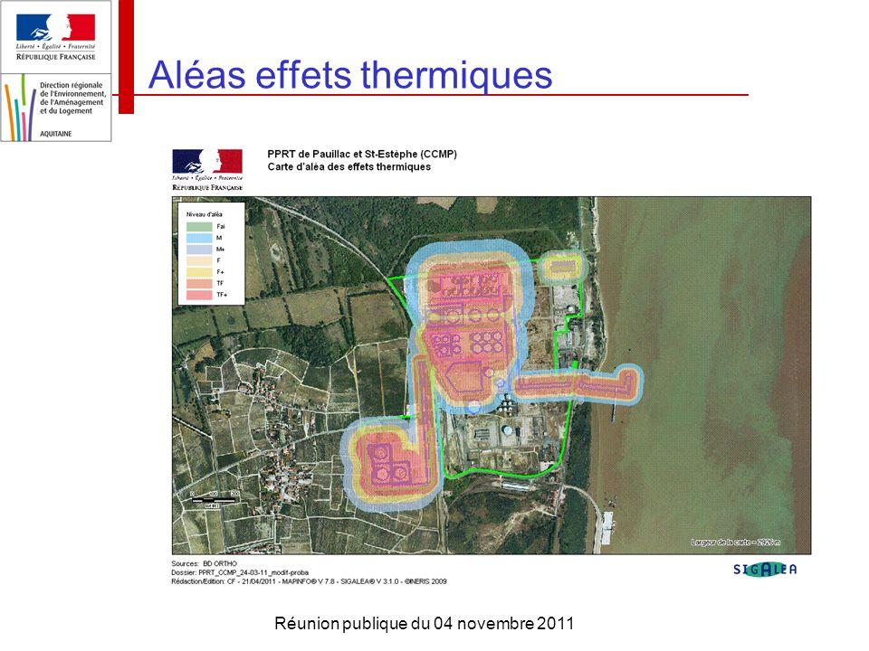 Réunion publique du 04 novembre 2011 Aléas effets thermiques