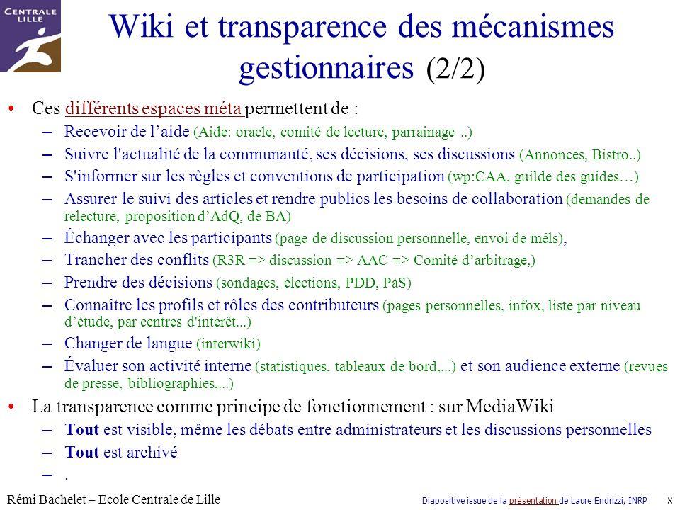 Diapositive issue de la présentation de Laure Endrizzi, INRPprésentation Rémi Bachelet – Ecole Centrale de Lille 9 Questions ?