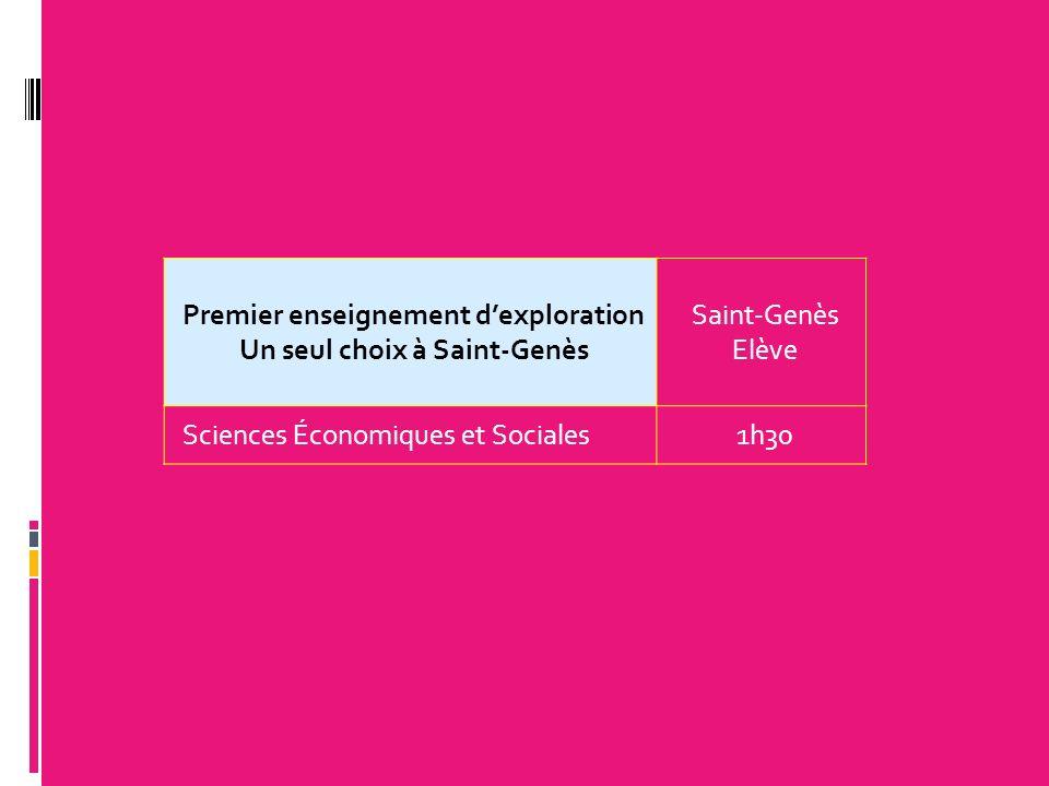 Premier enseignement dexploration Un seul choix à Saint-Genès Saint-Genès Elève Sciences Économiques et Sociales1h30