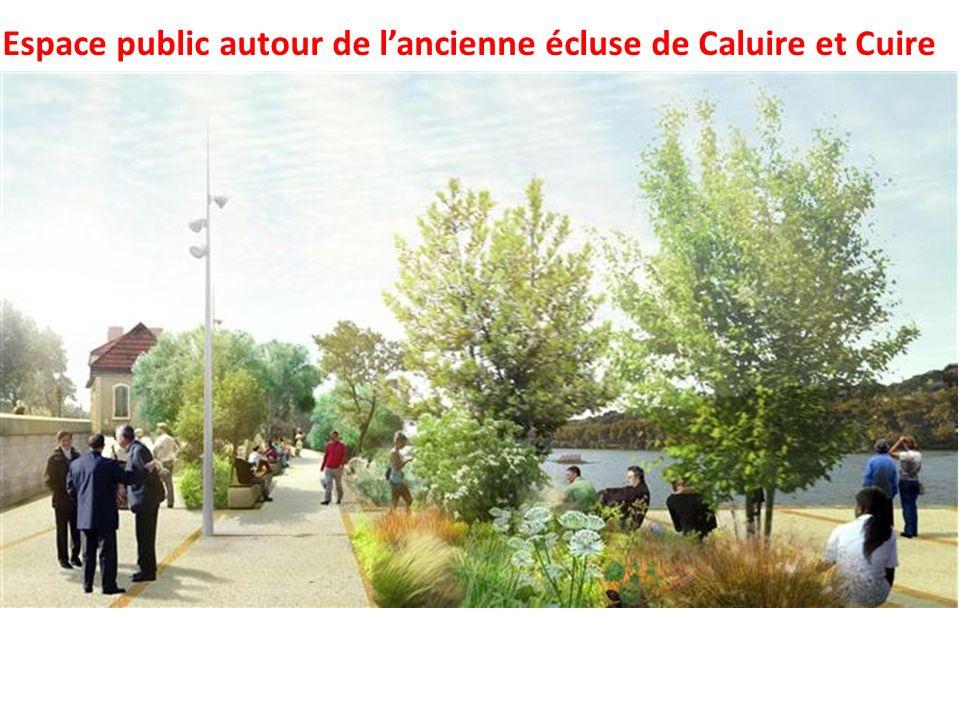 Espace public autour de lancienne écluse de Caluire et Cuire