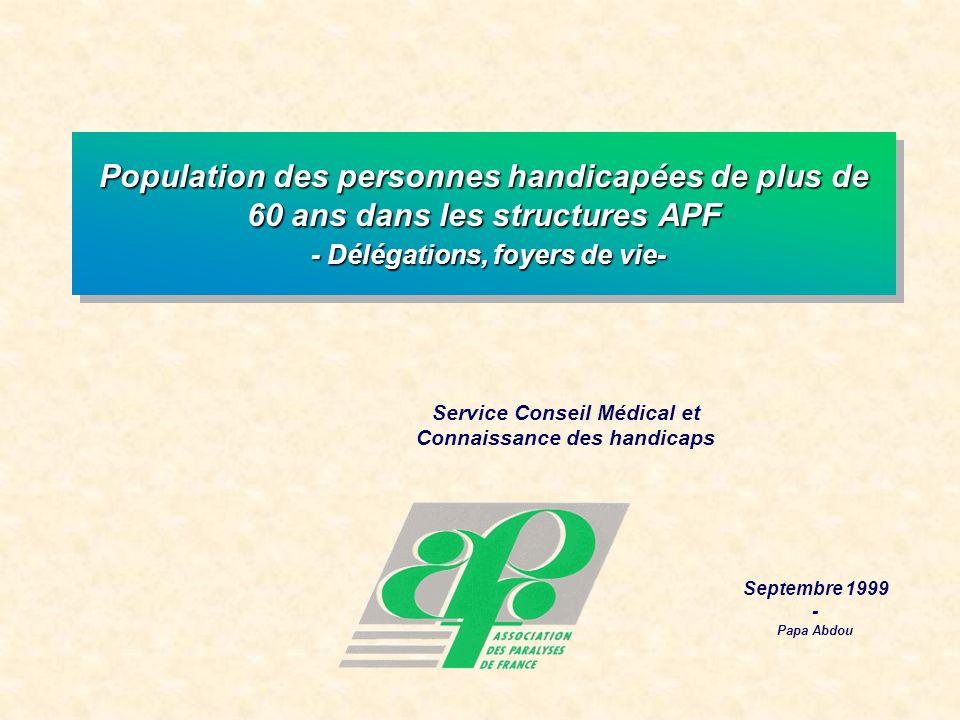 Service Conseil Médical et Connaissance des handicaps Septembre 1999 - Papa Abdou Population des personnes handicapées de plus de 60 ans dans les structures APF - Délégations, foyers de vie-