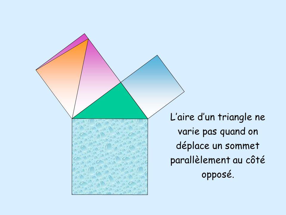 Laire dun triangle ne varie pas quand on déplace un sommet parallèlement au côté opposé.