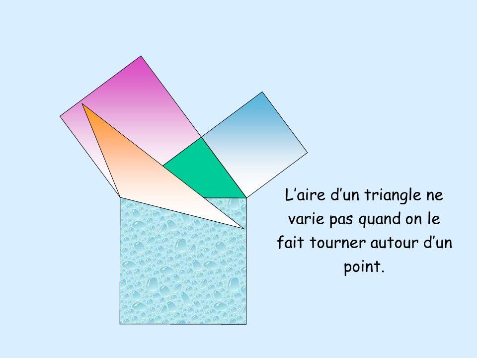 Laire dun triangle ne varie pas quand on déplace un sommet parallèlement au côté opposé. Suite