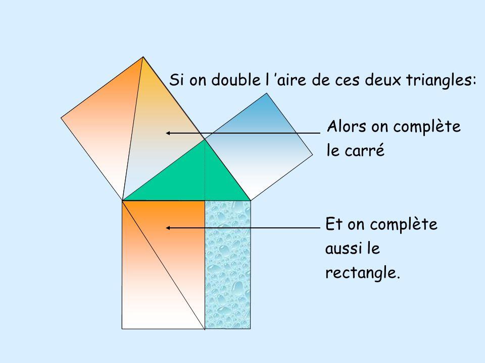 Donc les deux triangles orange ont la même aire.