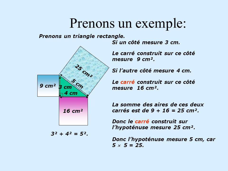 Théorème de Pythagore L aire du grand carré est la même que celle des deux plus petits carrés assemblés.