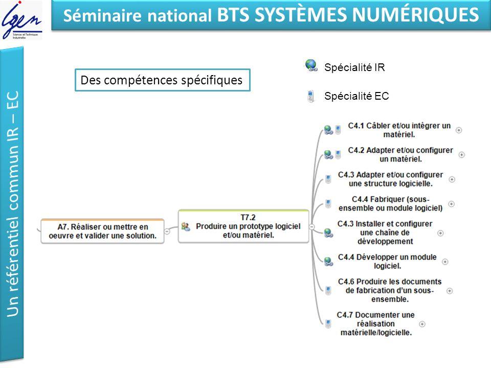 Eléments de constat Séminaire national BTS SYSTÈMES NUMÉRIQUES Des compétences spécifiques Spécialité IR Spécialité EC