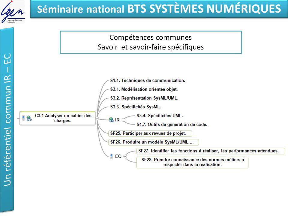 Eléments de constat Séminaire national BTS SYSTÈMES NUMÉRIQUES Compétences communes Savoir et savoir-faire spécifiques