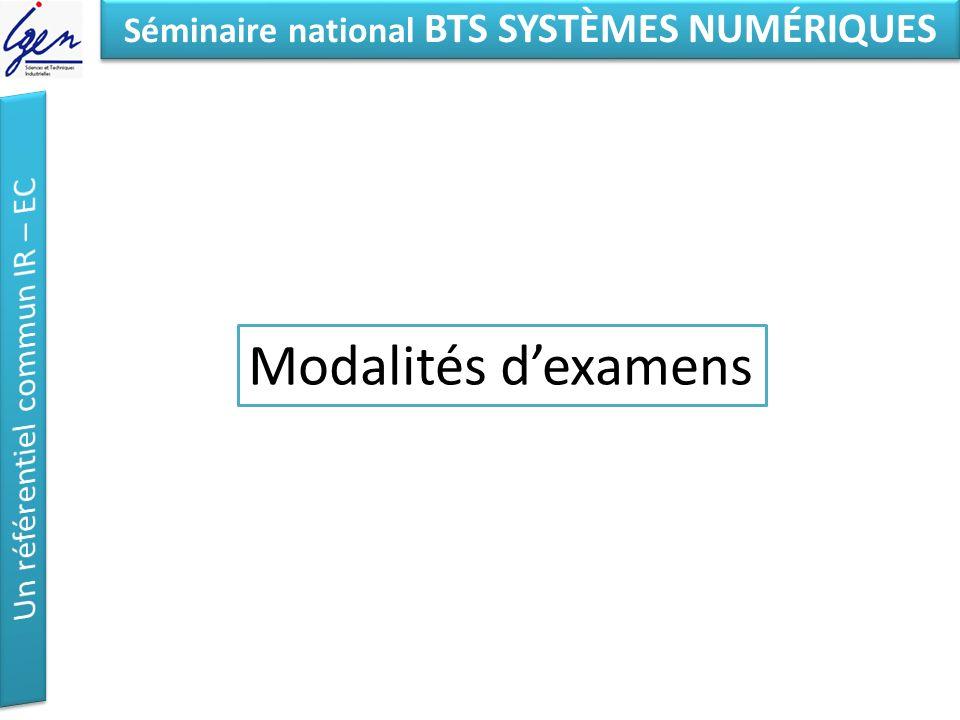 Eléments de constat Séminaire national BTS SYSTÈMES NUMÉRIQUES Modalités dexamens