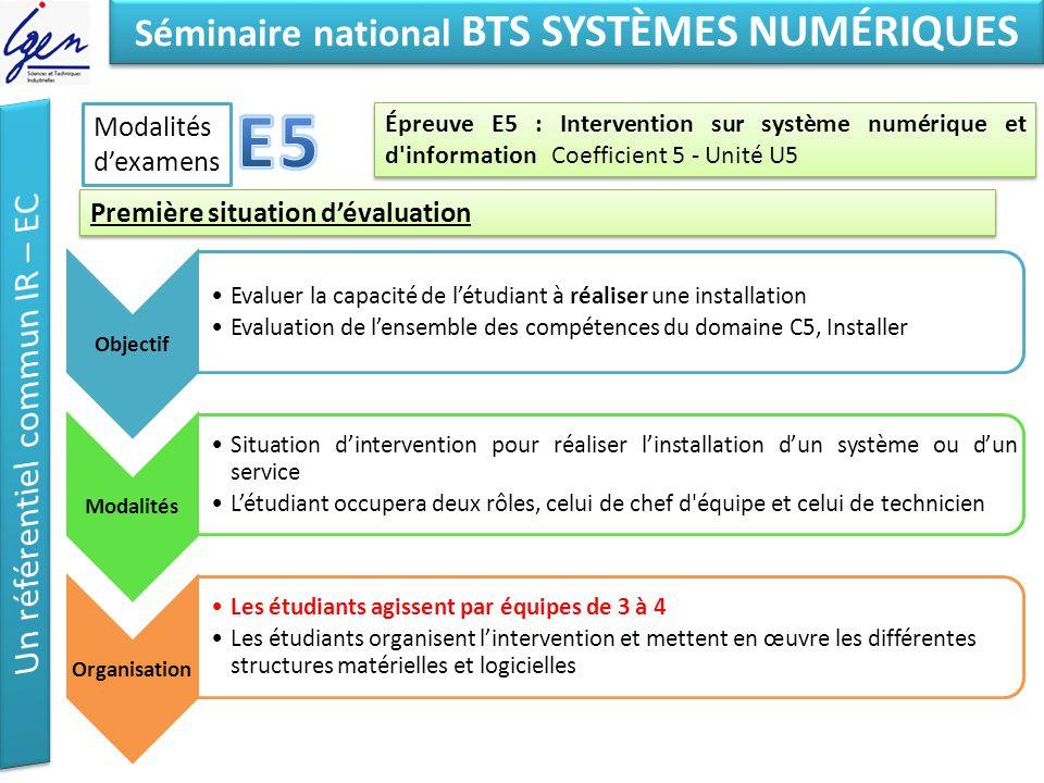 Eléments de constat Séminaire national BTS SYSTÈMES NUMÉRIQUES Épreuve E5 : Intervention sur système numérique et d'information Coefficient 5 - Unité