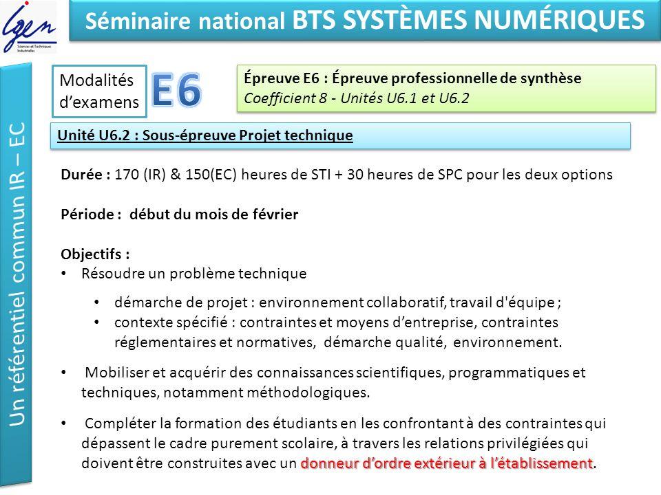 Eléments de constat Séminaire national BTS SYSTÈMES NUMÉRIQUES Épreuve E6 : Épreuve professionnelle de synthèse Coefficient 8 - Unités U6.1 et U6.2 Ép