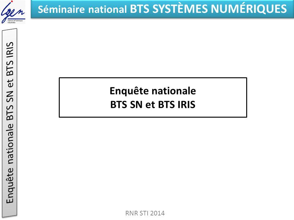 Séminaire national BTS SYSTÈMES NUMÉRIQUES Enquête nationale BTS SN et BTS IRIS RNR STI 2014