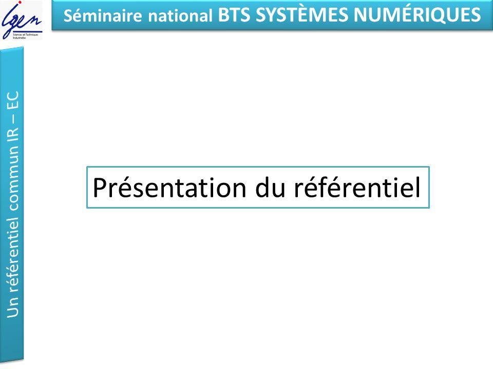 Eléments de constat Séminaire national BTS SYSTÈMES NUMÉRIQUES Présentation du référentiel