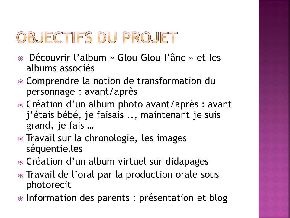 Découvrir lalbum « Glou-Glou lâne » et les albums associés Comprendre la notion de transformation du personnage : avant/après Création dun album photo